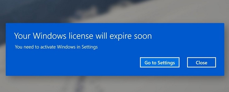 Your Windows license will expire soon. You need to activate Windows in settings